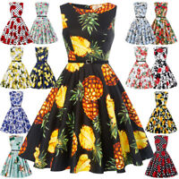 Ladies 50s Fruits Print Pinup Swing Retro Vintage PARTY Dress Cocktail TEA Dress
