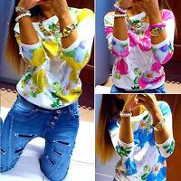 Women Floral Print Long Sleeve Knitted T Shirts Jumper Sweater Top Shirt Blouse