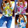 donna stampa floreale manica lunga a maglia t-shirt maglia maglioncino