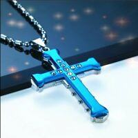 Blue CZ Cross Pendant Necklace Free Shipping