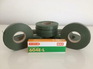 Box (10) Green tape x 26m To Fit Max Tapener Tape Machine and Packet of Staples