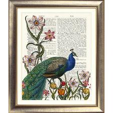 Impression sur antique Dictionary page Peacock Imprimé fleuri vintage jardin livre ancien