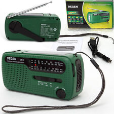 Degen DE13 AM FM SW Crank Dynamo Solar Powered World Receiver Radio