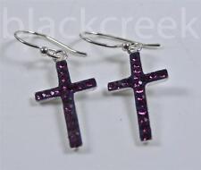 925 Sterling Silver ~ Czech Crystal~ French Wire~ Cross~ Dangle Earrings