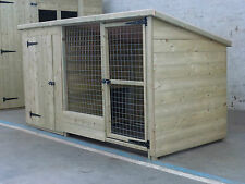 TANALISED WOODEN DOG KENNEL AND RUN / CATTERY  10 X 4 x 4 HIGH