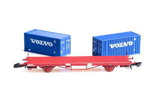 FR ZF46.807 Swedish SJ Flat Car in METAL, VOLVO containers class Lgs741  Z-scale