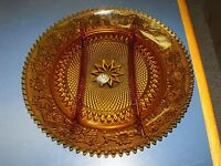 """EXCLUSIVE TIARA SANDWICH INDIANA GLASS AMBER 12"""" DIVIDED SERVING PLATTER PLATE"""