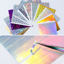 12 Sheets Holographic 3D Nail Art Stickers Stripe Nail Trandfer Candy Decal Tips