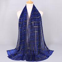 Women Muslim Tassel Glitter Long Hijab Scarf Shawl Wrap Pashmina Stole S
