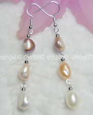 9-10mm Natural Baroque Pearls Pink White Purple earring Silver Hook JE54
