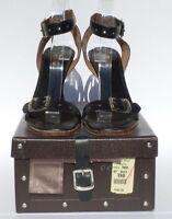 AZZEDINE ALAIA Black Leather Silver Buckle Wood Heel Sandals Pumps 40.5 Damaged