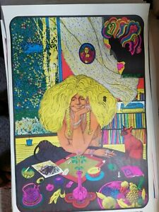 JUST LIKE A WOMAN 1972 VINTAGE BOB DYLAN NOS BLACKLIGHT POSTER Steffen & Gaines