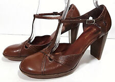 NINE WEST Brown Leather Dress Shoes Sz 10.5M High Heel T Strap Red Soles KICKER