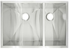 Stainless Steel Double Undermount Kitchen Sink Zero-Radius 10 in Deep LP3R 18G