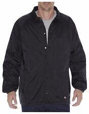 Dickies Men's Black Snap Front Lined Windbreaker Nylon Coaches Jacket 76242