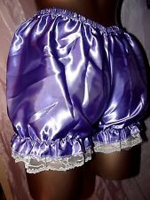 NEW SISSY SILKY FRILLY LACED PURPLE BLOOMER PANTIES SIZE LARGE UK
