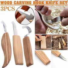 3pcs Wood Carving Hand Chisel Tools Set Professional Woodworking Gouges Steel