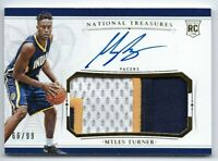 MYLES TURNER 2015-16 NATIONAL TREASURES RPA JERSEY PATCH AUTO AUTOGRAPH RC #/99