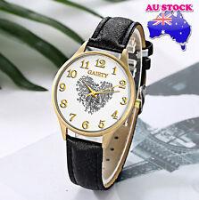 Wholesale Black Leather Love Heart White Dial Quartz Women Lady Wrist Watch