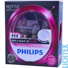 H4 Philips Colorvision Pink-styling-faros lámpara Duo-pack nuevo