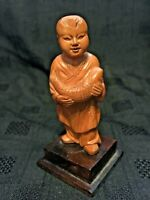 Chinese Cultural Revolution Era Carved Boxwood Figure of Boy Holding Fish