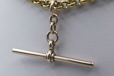 More details for 40mm antique victorian 9ct rose gold t bar pendant albert chain large jump ring