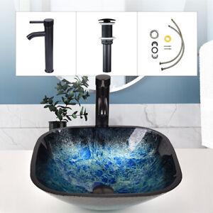 Waschbecken Glas Aufsatzwaschbecken Hand Waschschale Waschtisch Blau Bad Küche