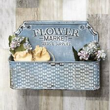 Farmhouse Flower Market Metal Basket Storage Bin WALL POCKET Vintage Style Blue