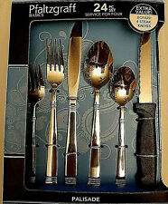 Pfaltzgraff  Palisade 24 Piece Flatware Set, Service for 4, Bonus 4 Steak knives