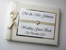 PERSONALISED WEDDING GUEST BOOK WITH DIAMONTE BUCKLE (IVORY) - ANY COLOUR