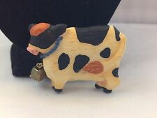 ARTISAN MADE BLACK & WHITE ENAMEL HOLSTEIN/DAIRY COW ARTICULATED BELL BROOCH