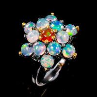 Orange Opal Ring Silver 925 Sterling Beauty Rainbow4x4mm Size 7 /R141116