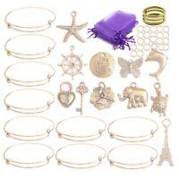 10PCS/Set Gold Tone Expandable Wire Bangle Bracelets Charms Gift Bag DIY Kits
