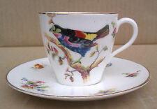Royal Doulton-MINIATURA TAZZA & PIATTINO-Esotico Bird PATTERN-c1924.
