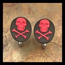 New Cufflinks Pink Black Skull Crossbones Modern Resin Cameo Silvertone I07