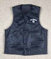 Jack Daniels Womens Black Leather Vest Size M