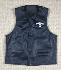 Jack Daniels Womens Black Leather Vest Size M