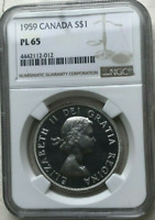 :1959 S1$ DOLLAR ELIZABETH-II CANADA KM#54 LOW-POP RARE NGC PL-65 HIGHEST-GRADES