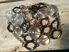 "Vintage Clear Lucite Bead Necklace Mid Century 36"" Long"
