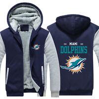 Miami Dolphins Football Hoodie Winter Warm Sweatshirt Fleece Hooded Jacket Coat