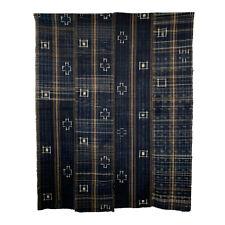"Vintage Japanese Cloth Indigo Bold Kasuri Unique 66.9"" x 52.8"" Boro Futon Cover"