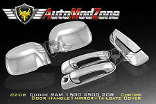 02-08 Dodge RAM Chrome 2 Door Handle+ Tailgate + Mirror Cover Combo w/o PSG KH