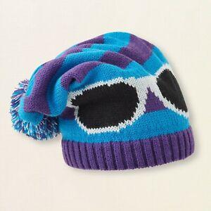Children's Place Girl's Knit Winter Pom Pom Hat  S/M 4-7YR Heliotrope Blue NWT