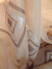 10 Metres Mocha Sheer Voile With Silver Glitter Squares Curtain & Draping Fabric