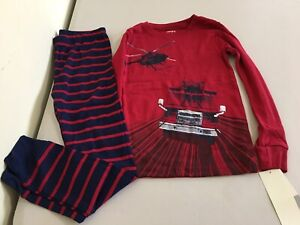 New Carter's Boys Firetruck Helicopter Pajama set Snug Fit Long Sleeve Pants Red