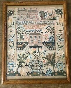 Vintage Needlework Sampler PRINT art Cynthia Burr house alphabet fall Colonial