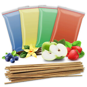4x 200g Aromazucker + 50 Holzstäbe | Zuckerwatte-Zucker für Zuckerwattemaschine