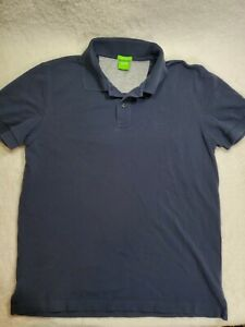 Hugo Boss Green Label Men's Size Large Regular Fit Blue Button Front Polo Shirt