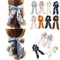 Chiffon Bow Knot Scrunchies Elastic Ribbon Hair Rope Band Ties Wrap Accessories