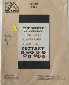 "Patty Ann Creations Cross Stitch Kit #465 Lottery ""The Secret of Success . . ."""